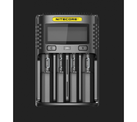 NITECORE UM4 Intelligent USB QUAD-Slot Quick Battery Charger for Li-Ion/Ni-MH/Ni-Cd/IMR 16340 14500 18650 21700 20700 AA AAA