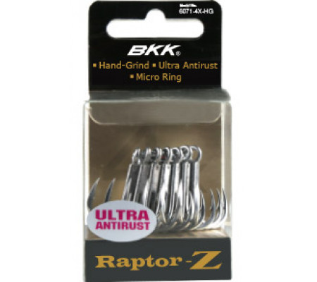 BKK RAPTOR Z TREBLE HOOKS 6071-4X-HG #6